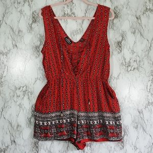 Angie Red Black Boho Lace Up Tie Romper L D87